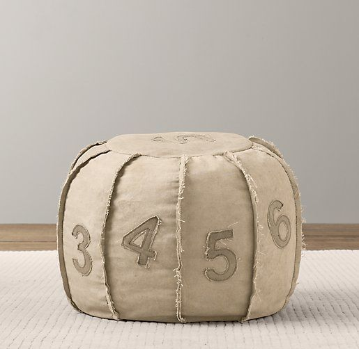 recycled canvas number pouf ottomans poufs restoration hardware baby child big boy. Black Bedroom Furniture Sets. Home Design Ideas