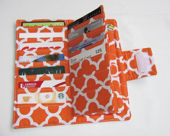 Credit Card Organizer Wallet, Gift Card Holder, women's wallet 38 Credit Card Organizer French Wallpaper Orange Free Key Chain Ready to Ship