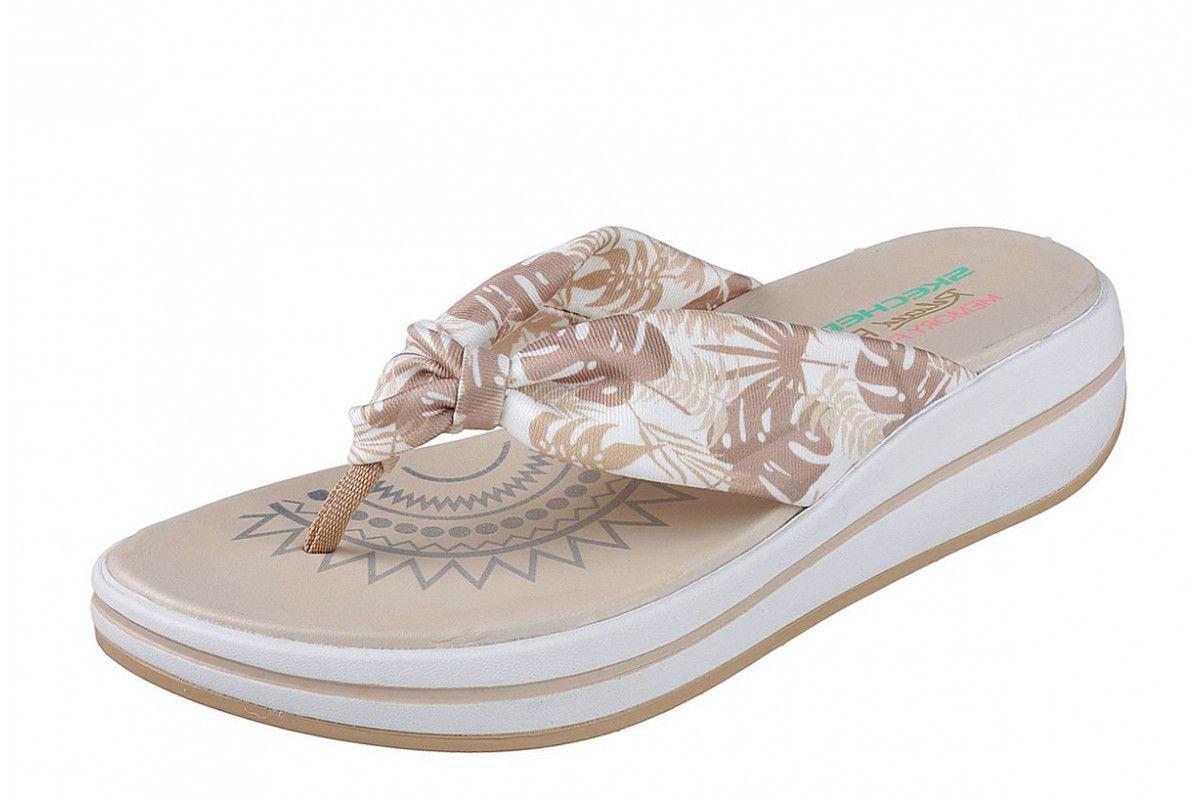 0121287cdd8f Skechers Upgrades Pac Island Natural Beige Floral Wedge Flip Flops Sandals