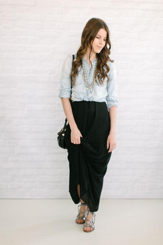 black maxi skirt   chambray shirt | Maxi skirts, Skirts and Maxi ...