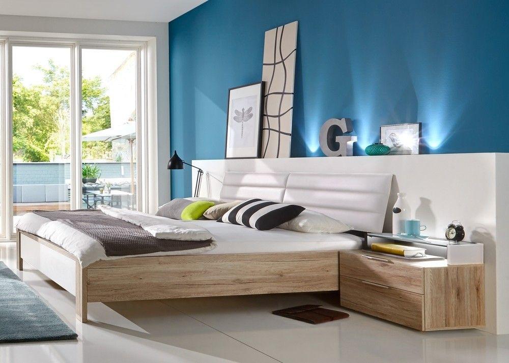 Bett Diva mit Nachtkommoden Eiche mit Weiß 10421 Buy now at