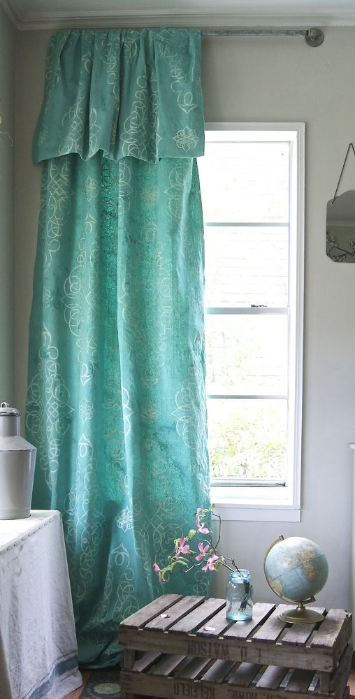 Stencil & Dye Your Own Drop Cloth Curtain with Wallovers Marrakesh Stencil and Annie Sloan Chalk Paint