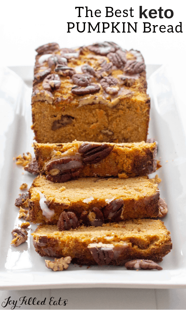 Easy Pumpkin Bread Recipe with Pecans - Low Carb, Keto, Gluten-Free, Grain-Free, THM S - This easy Pumpkin Bread mixes up in no time. A wooden spoon and 5 minutes of your time are all it takes to get this delectable fall treat into the oven. #lowcarb #glutenfree #thm #grainfree #pumpkin #fall #brunch #trimhealthymama #keto #sugarfree