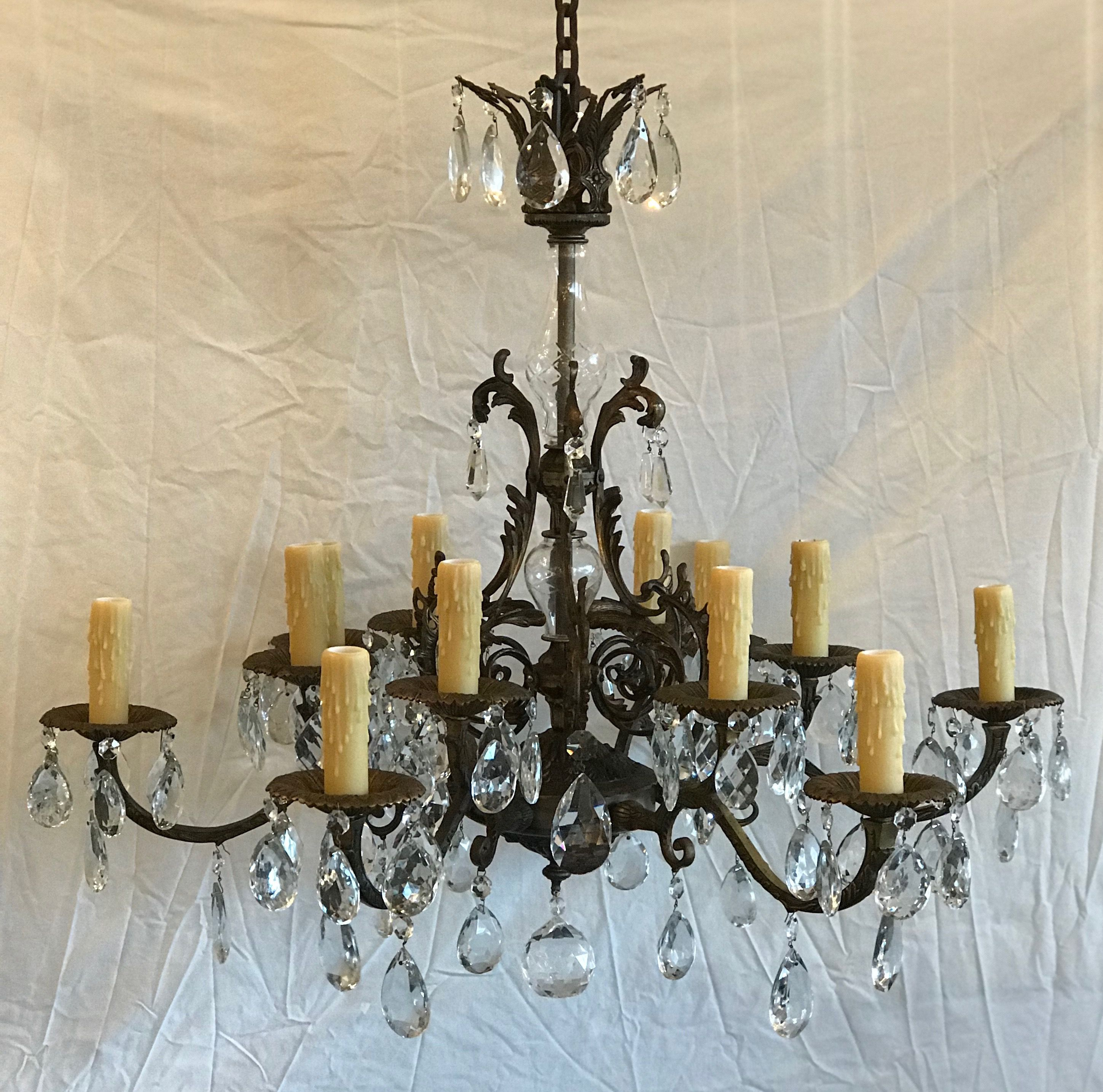 12 Light Spanish Bronze Chandelier With Crystal Tear Drops