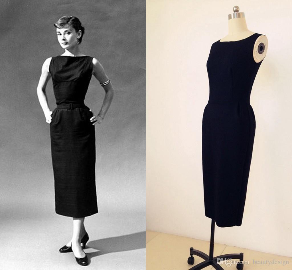 Clásico Negro Noble De La Vaina De Audrey Hepburn Estilo De La Calle ...