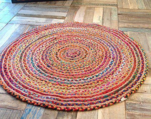 Second Nature Braided Cotton Jute Multi Coloured Round Chindi Rag Rug