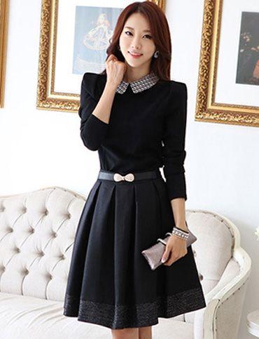 Graceful Slim-Fit  Long Sleeve Flare Dress for Women, Shop online for $24.30 Cheap Dresses code 710559 - Eastclothes.com