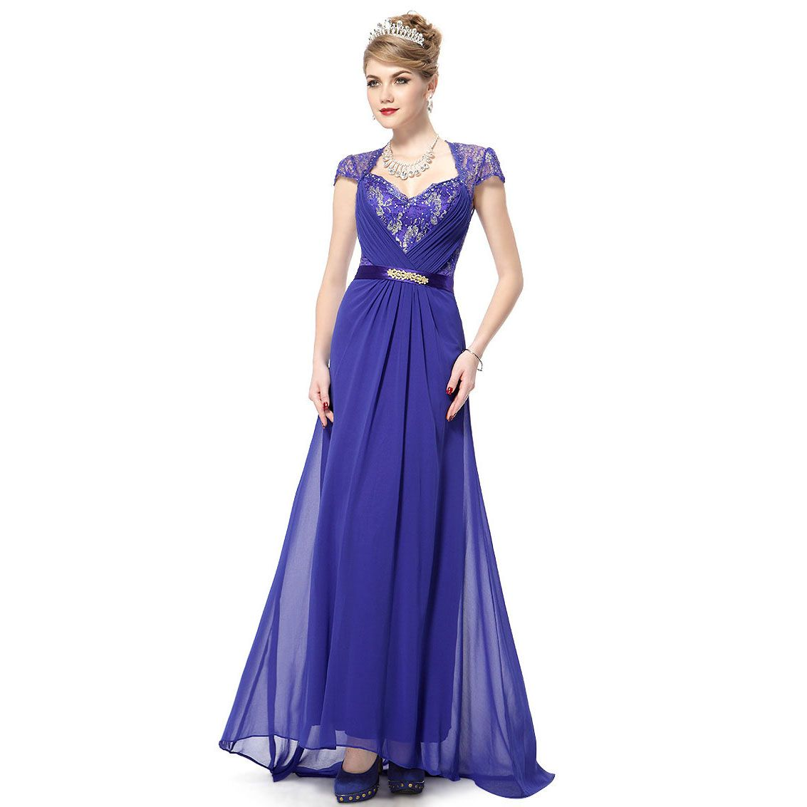 Ever Pretty Sexy V Neck Padded Rhinestones Trailing Wedding Dress 09867