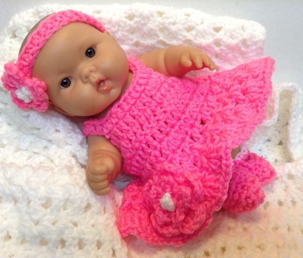 10 Inch Doll Clothes Fits Berenguer Reborn Dolls Bright Pink Dress Set Set Dress Bright Pink Dresses 12 Inch Doll Clothes