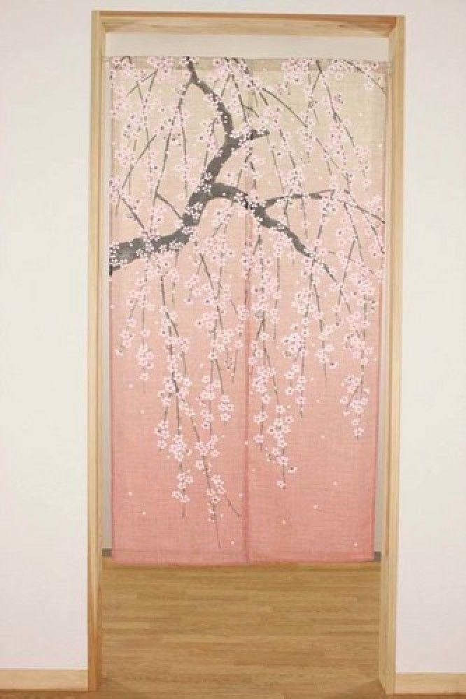 Noren Japanese Curtain Tapestry Interior Doorway Gradation Sakura