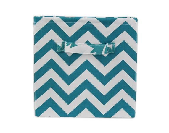 Teal And White Zig Zag Storage Bin With Handle From Brite Ideas Living    Shop At