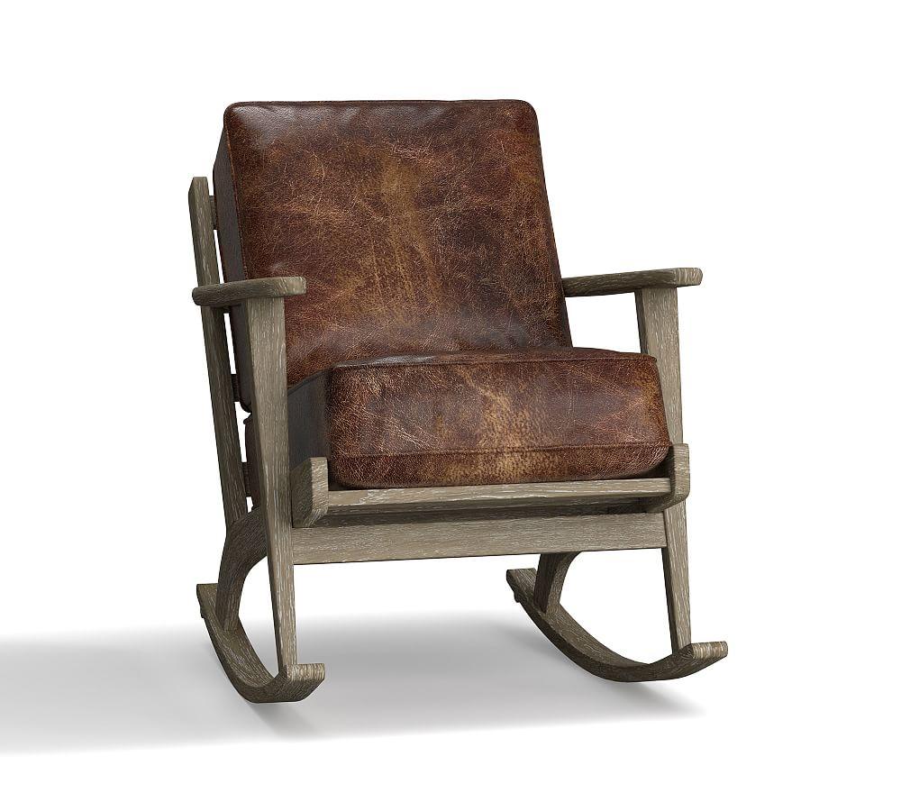 Raylan Leather Rocking Chair Rocking chair, Rocking