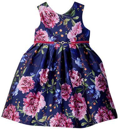 Pippa Julie Floral Jeweled Poppies Dress Toddler Little Girls Roupas Infantil Roupas
