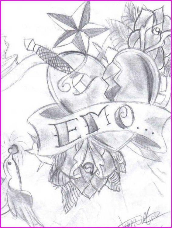 Dibujos De Emo Drawings Love Heart Drawing Emo Art