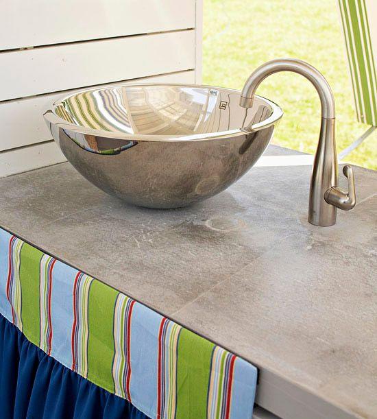 Idee für Outdoorküche - Arbeitsplatte aus Beton Outfoorküchen - arbeitsplatte küche verbinden