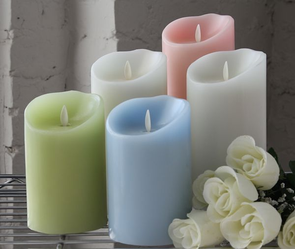 Moving Flame Light Green Candle Battery Operated 3 5 X 5 Timer
