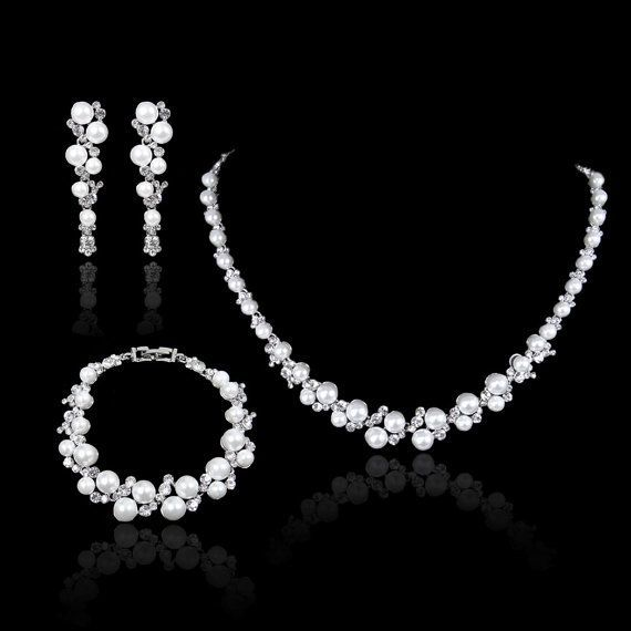 Wedding White Pearl Swarovski Crystal Necklace Earring Bracelet Set Pierced Dangle Bridal Bangle Jewelry 157412732