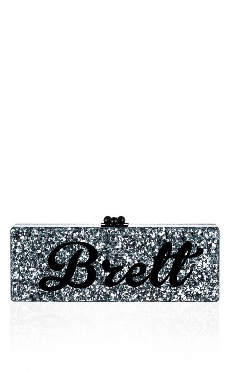Edie Parker Bespoke Silver Confetti Flavia Clutch With Black Text