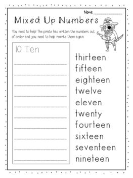 read write and order numbers to 20 worksheet