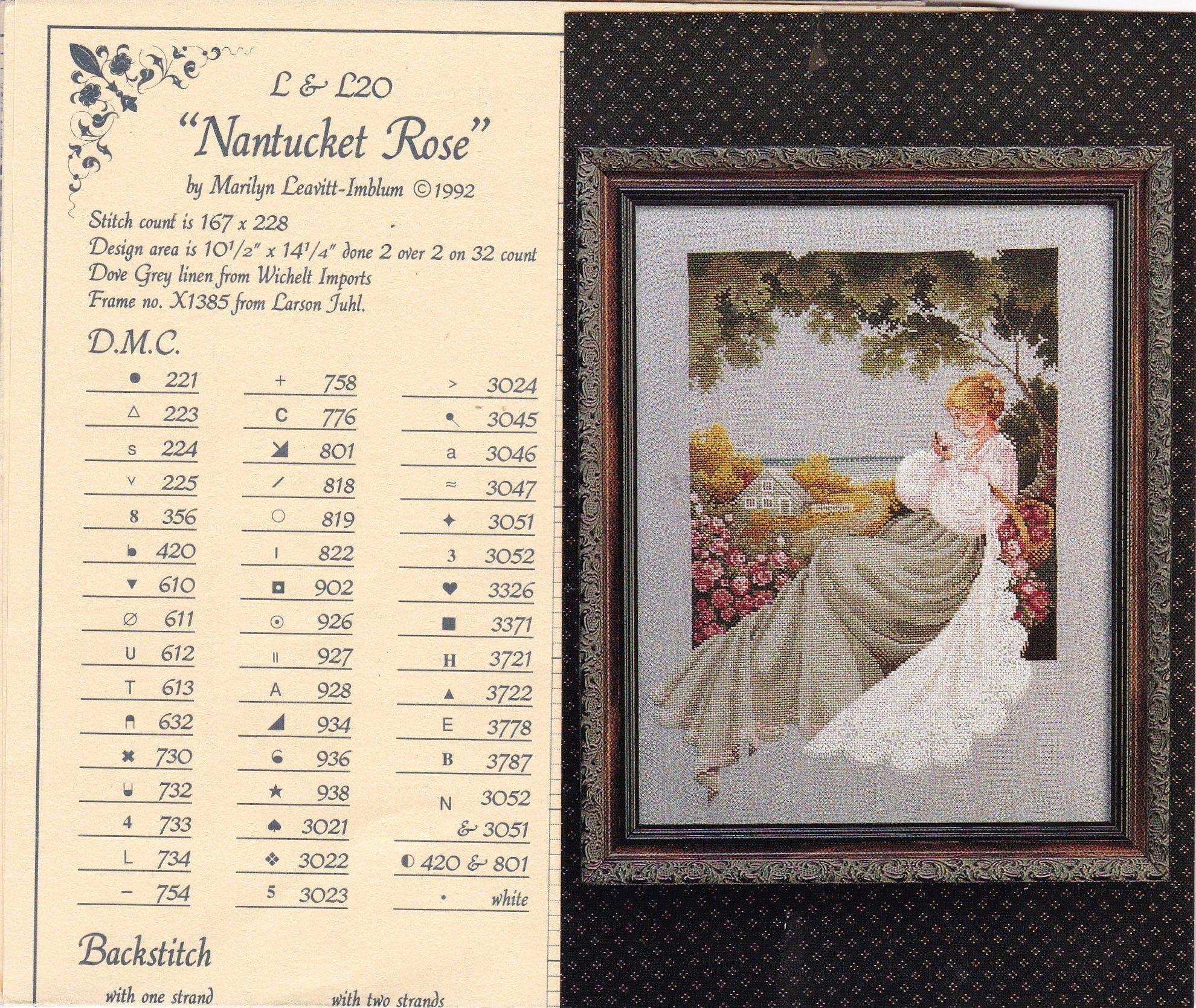Nantucket Rose Cross Stitch Chart Uses Dmc Thread Lavender And