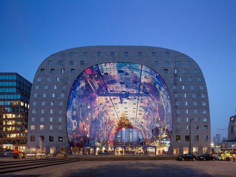 Markthal by MVRDV opens in Rotterdam, super graphics, ceiling - omas küche binz