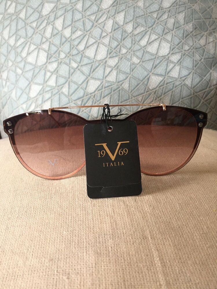 357fd3003a7b 19V69 Italia Versace 1969 RGD Elisa Gold Rimless Cat Eye Sunglasses NWT