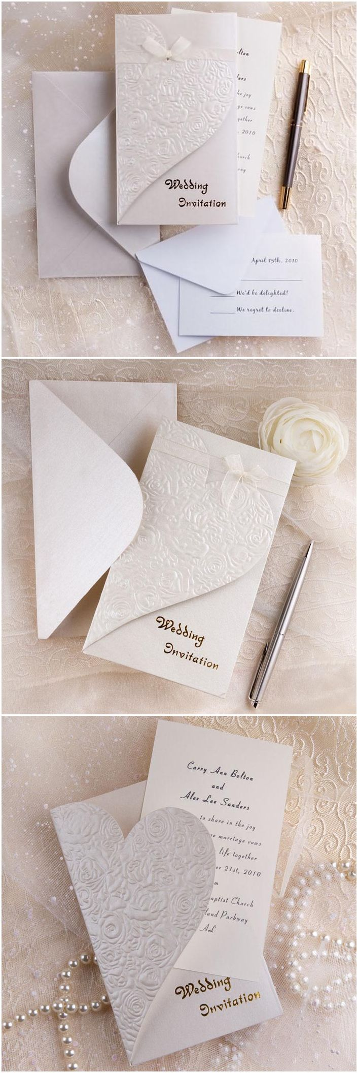 modern elegant folded embossed wedding invitations with free rsvp ...