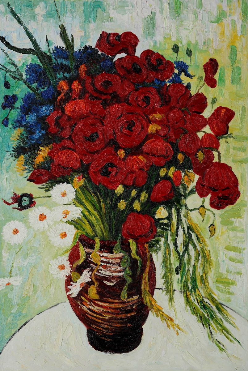 Vase with daisies and poppies by vincent van gogh van gogh overstockart vincent van gogh vase painting with daisies and poppies verona cafe coffee brown patina finish by oil painting on canvas hand painted oil reviewsmspy
