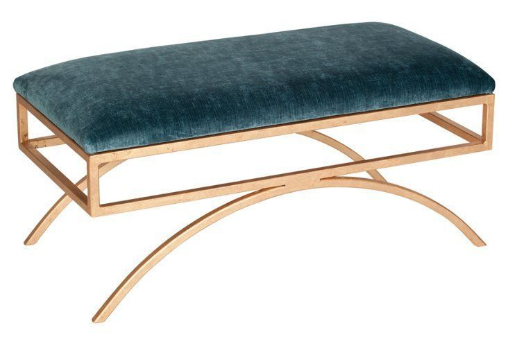 Troy Velvet Bench, Jade