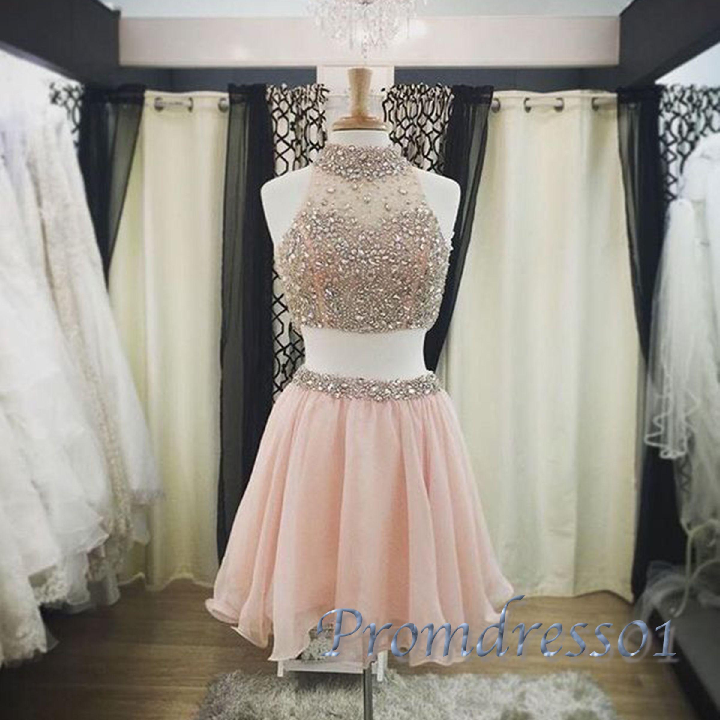 Prom dresses short homecoming dress light orange chiffon two