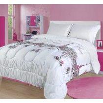 Beatrice Sweet Paris Twin Comforter Bedding Set Pink White Grey