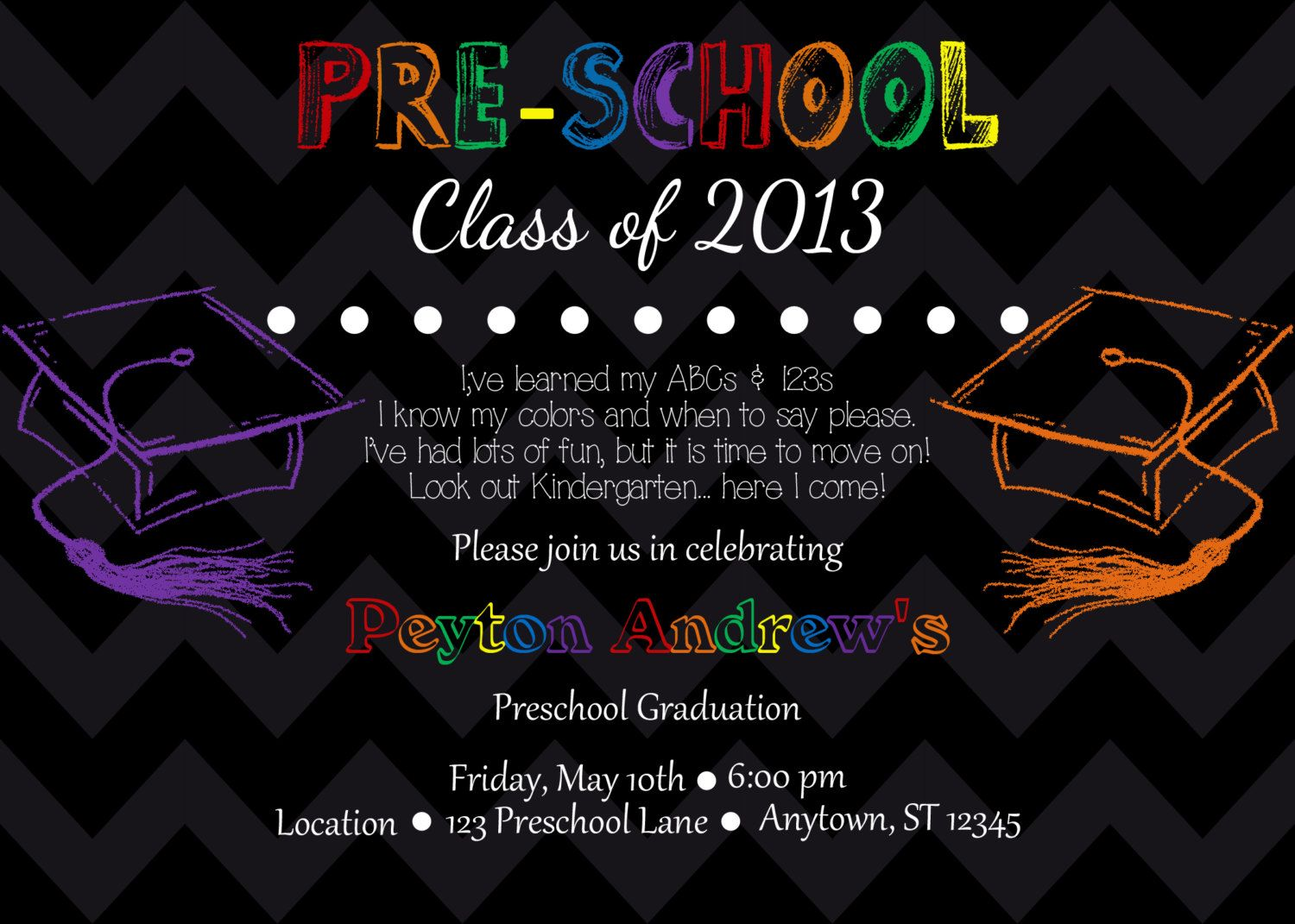 preschool kindergarten graduation invitation by partypassiondesign
