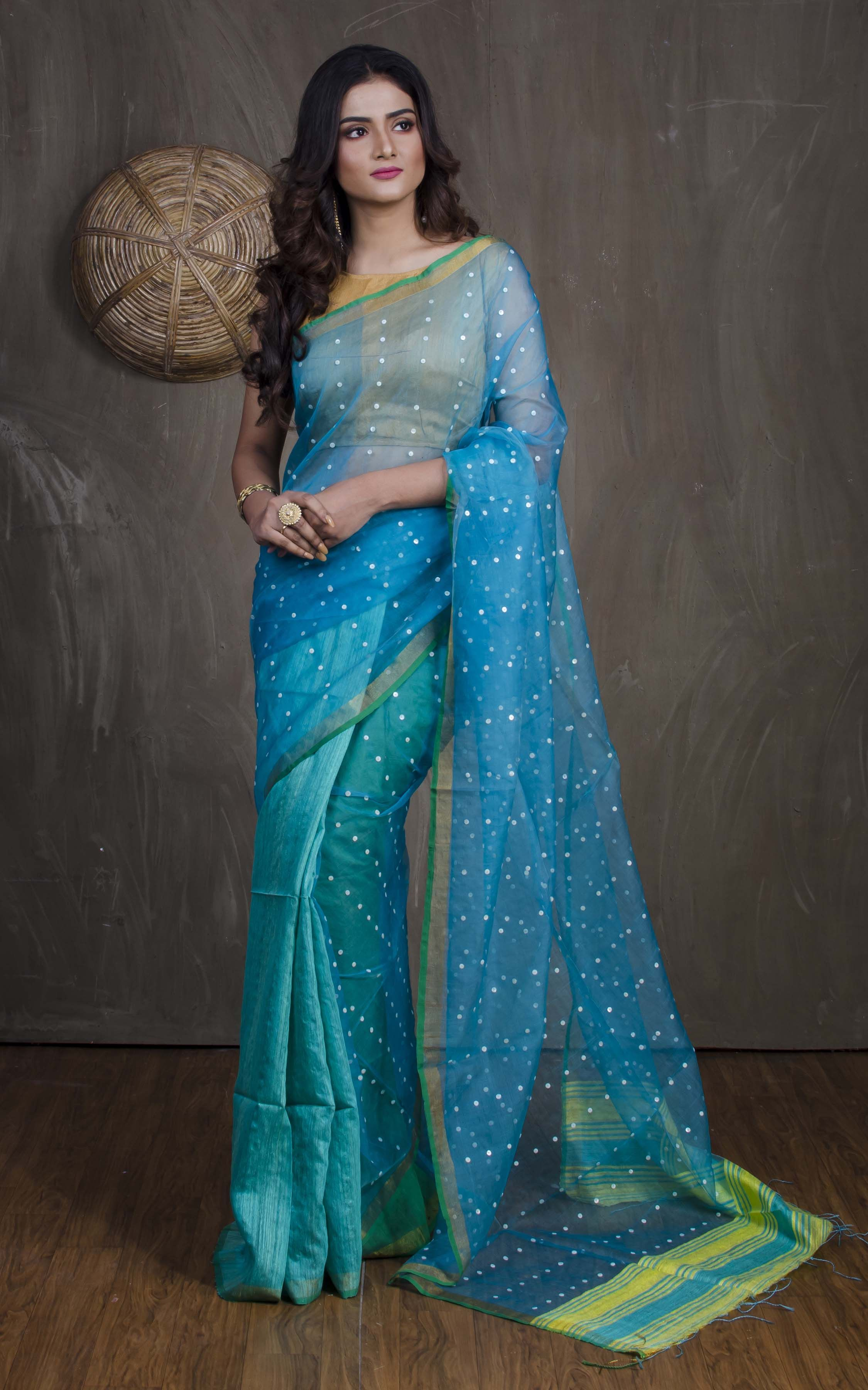 4000f93dd56c1 Half Matka and Half Muslin Saree in Bluish Green