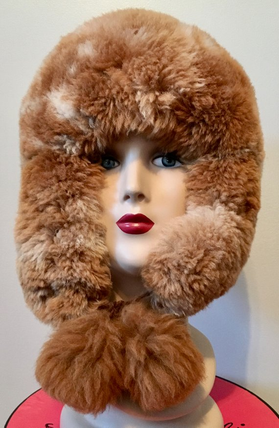 60f51f99 Vintage 70s Alpaca Fur Hat 22, 22.5 in a Ushanka Russian Style ...
