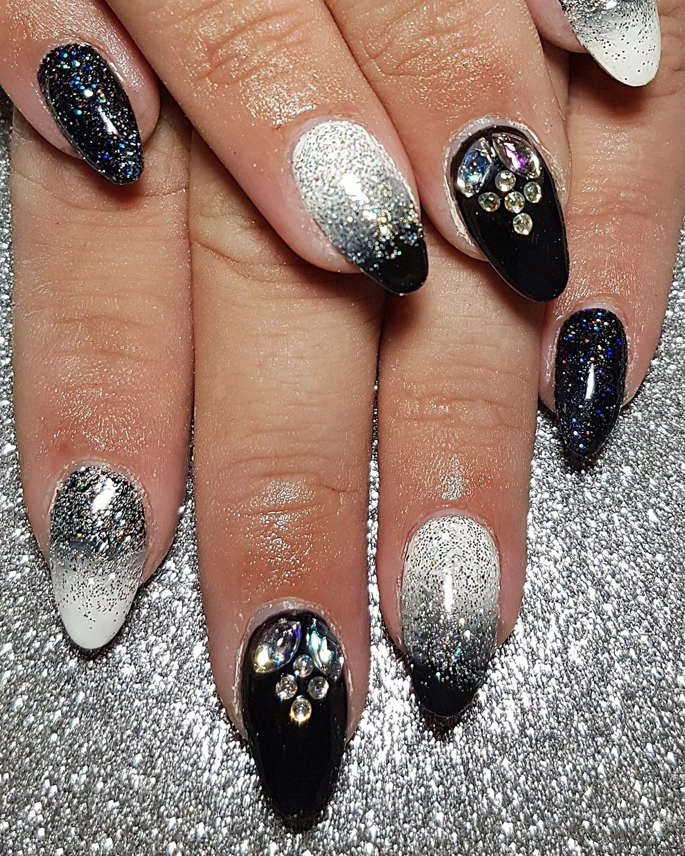 Black And White Ombre With Glitter And Gems On Gel Sculpted Nails Sculpted Nails Nails Fragrance Free Products