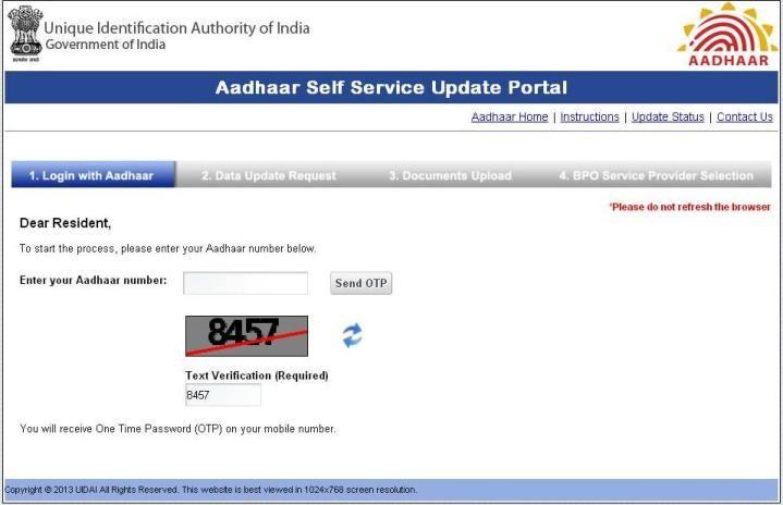 Aadhaar Update Aadhaar Self Service Update Portal At Ssup Uidai Gov In Update How To Change Name Aadhar Card You Are The Father