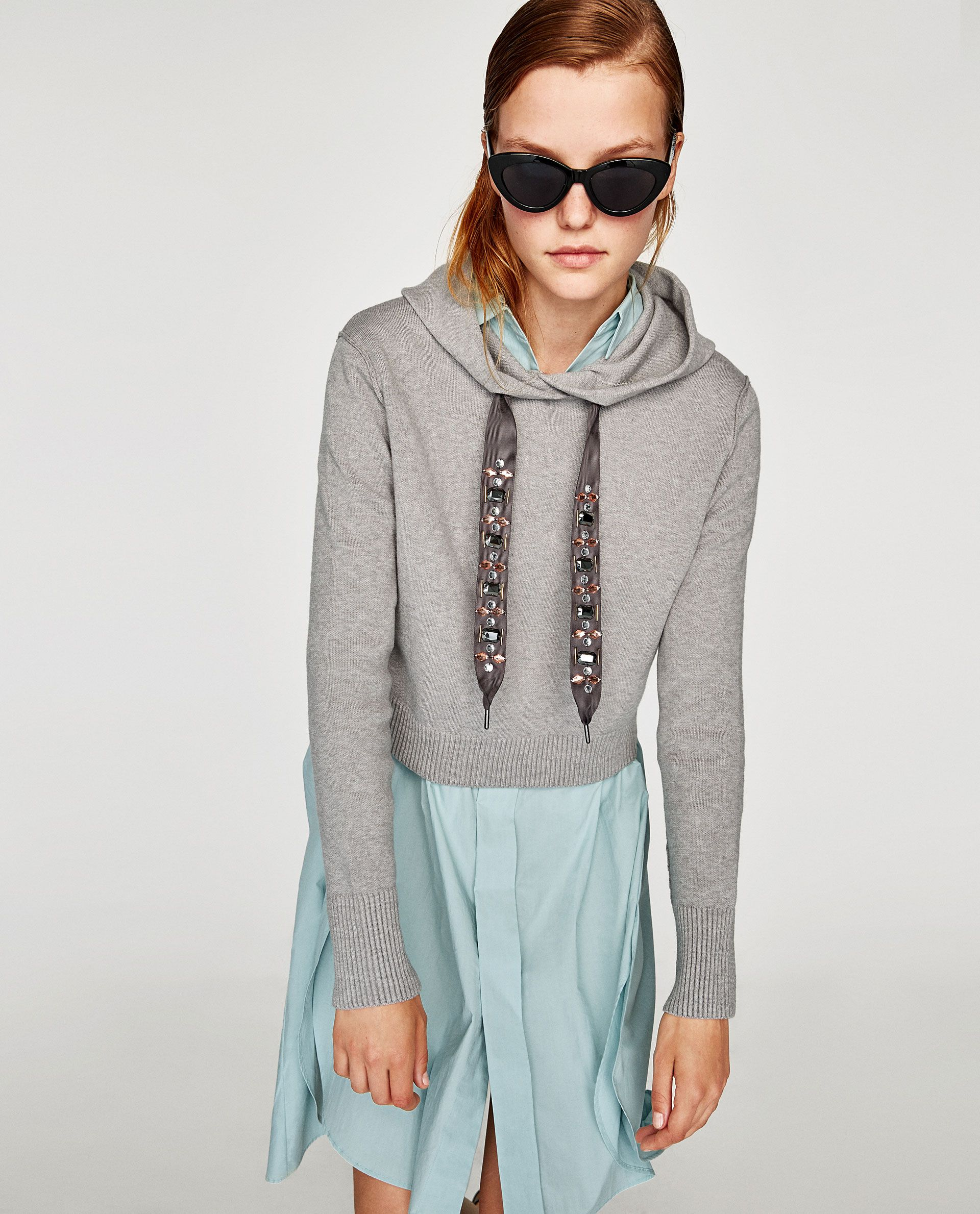 b7b86bb32c Image 2 of BEJEWELLED DRAWSTRING SWEATSHIRT from Zara