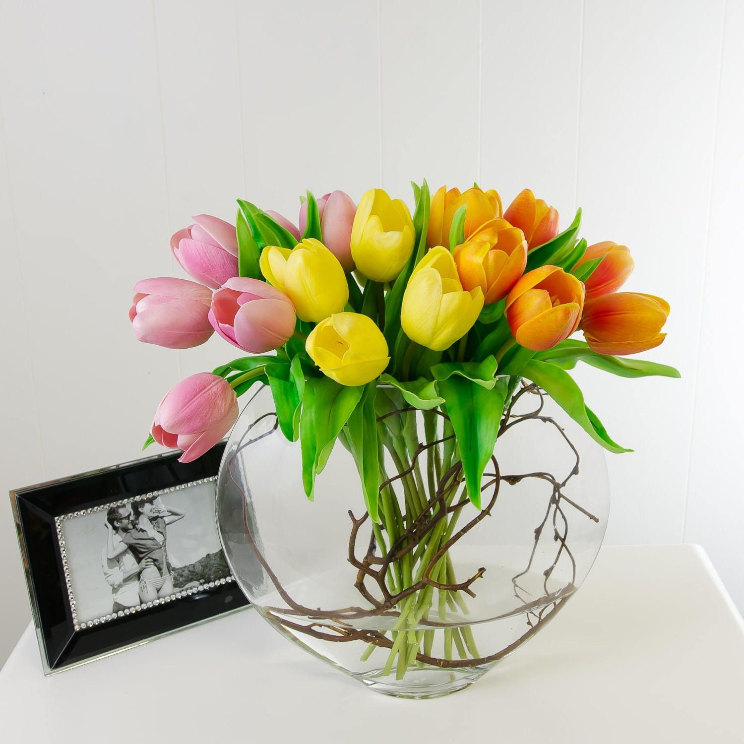 tulips real vase zoom fullxfull arranged glass touch il nz white in round arrangement tulip listing