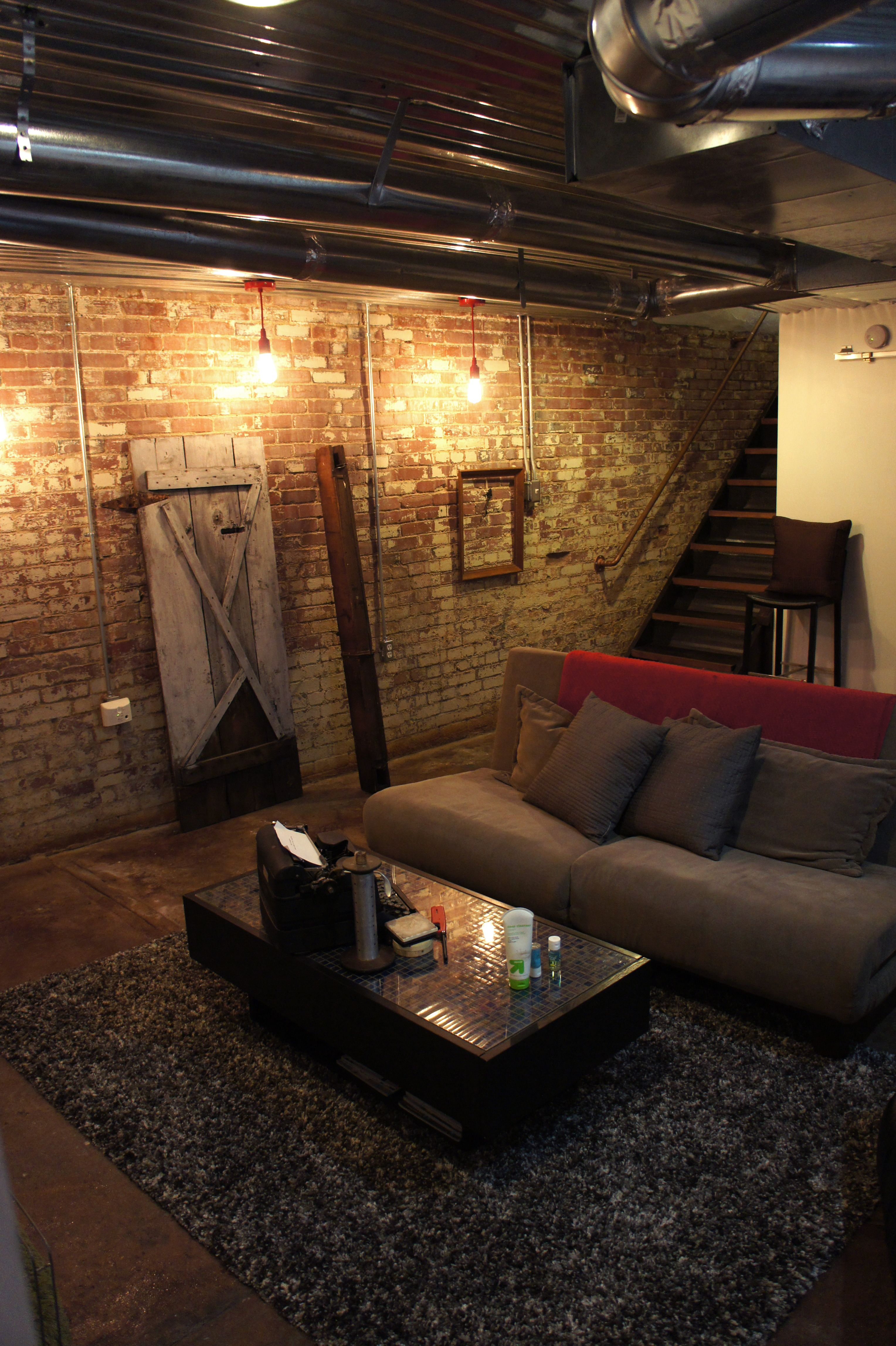 Industrial Basement Remodel Like The Exposed Pipes Height Added Brick Wall And Sliding Barn Door For The Basement Design Cozy Basement Industrial Basement