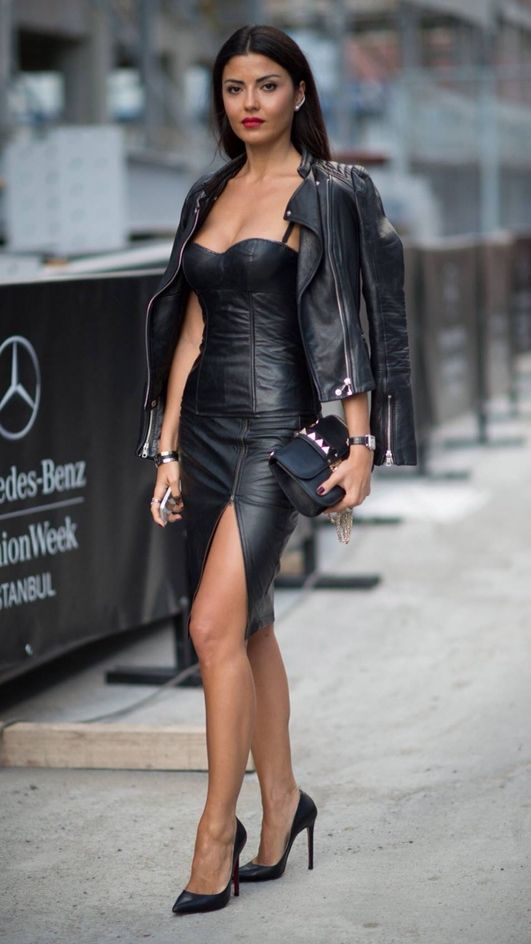 65d2bb9e2ae Sexy Fall Outfit Leather Bodycon Dress Plus Moto Jacket Plus Bag Plus Heels