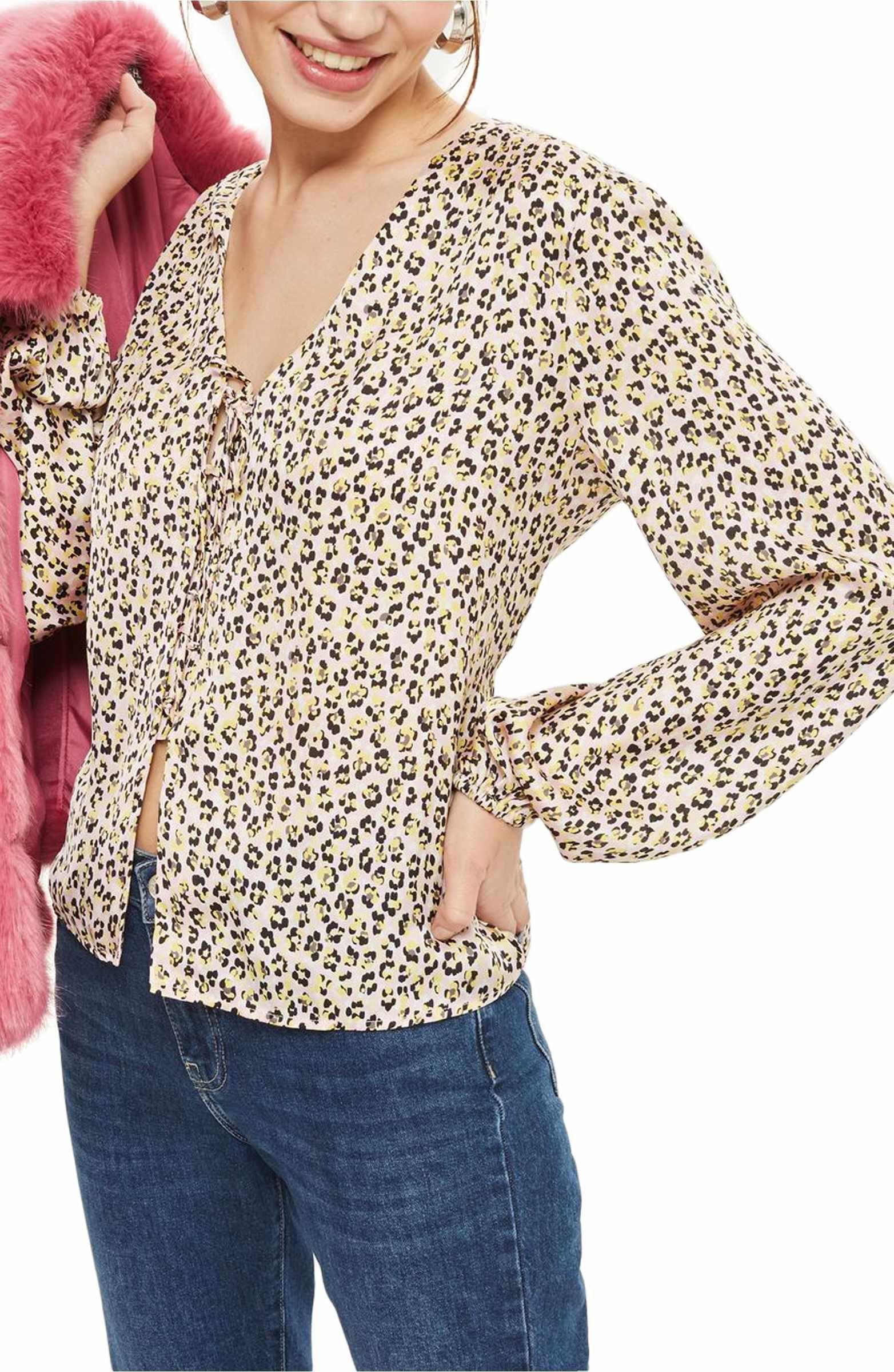 b978c4c3a49f Main Image - Topshop Leopard Print Tie Front Blouse   Wear it   Tie ...