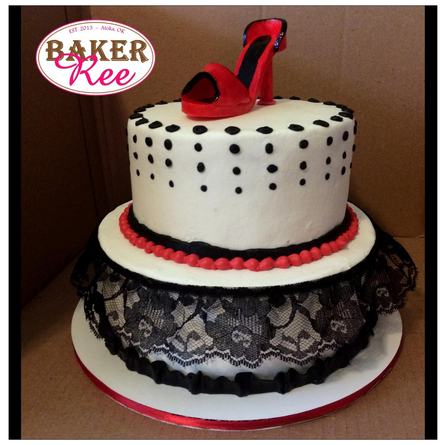 High Heel and Lace Birthday Cake created by BakerRee BakerRee