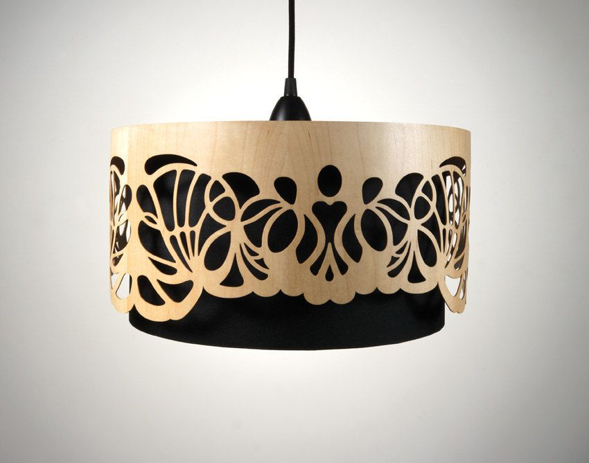 Lampshade made of wood with cut-outs / Handmade. €279.00, via Etsy.