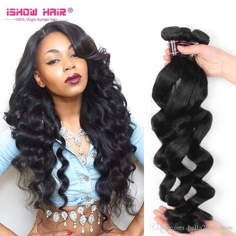 Brazilian Virgin Hair Weave Black Loose Wave Unprocessed Human Hair Weaves  For Black Women Wholesale Brazilian 9cb9f5cad0