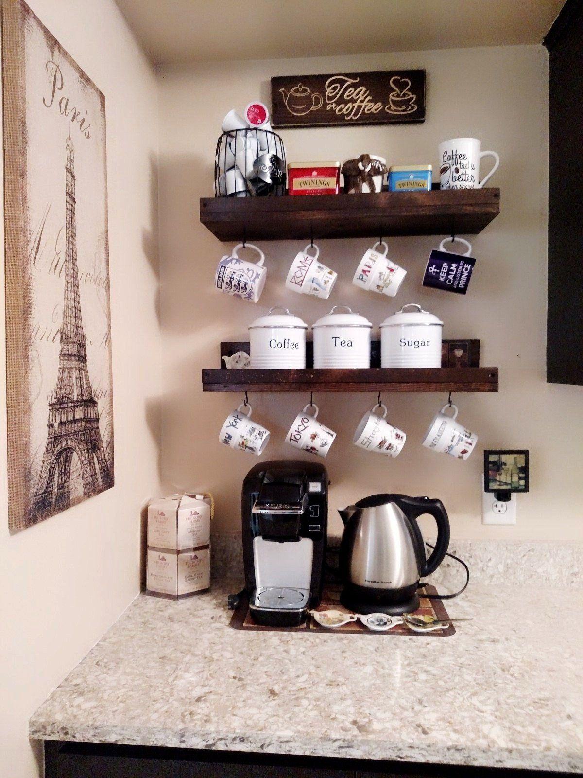 Organizer Display Mounted Rustic Coffee Holder Shelf Decor Rack With Wall Bar Mug Cuprusti In 2020 Coffee Bar Home Home Coffee Stations Coffee Bar Design