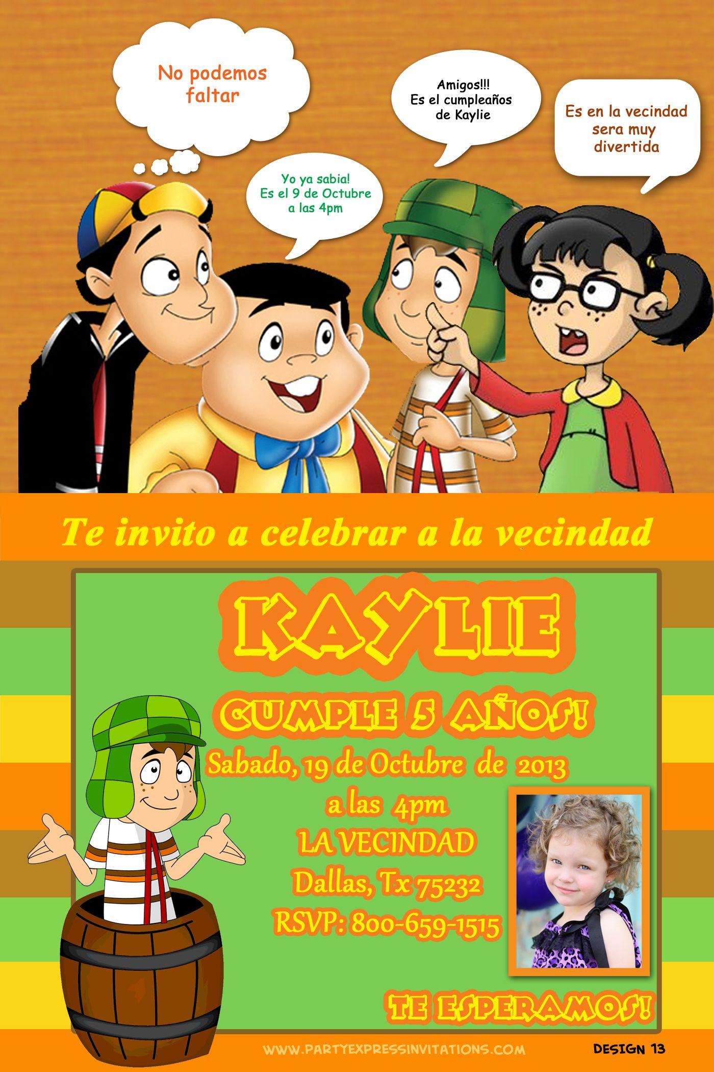 El Chavo Del 8 Y La Chilindrina Invitation 899