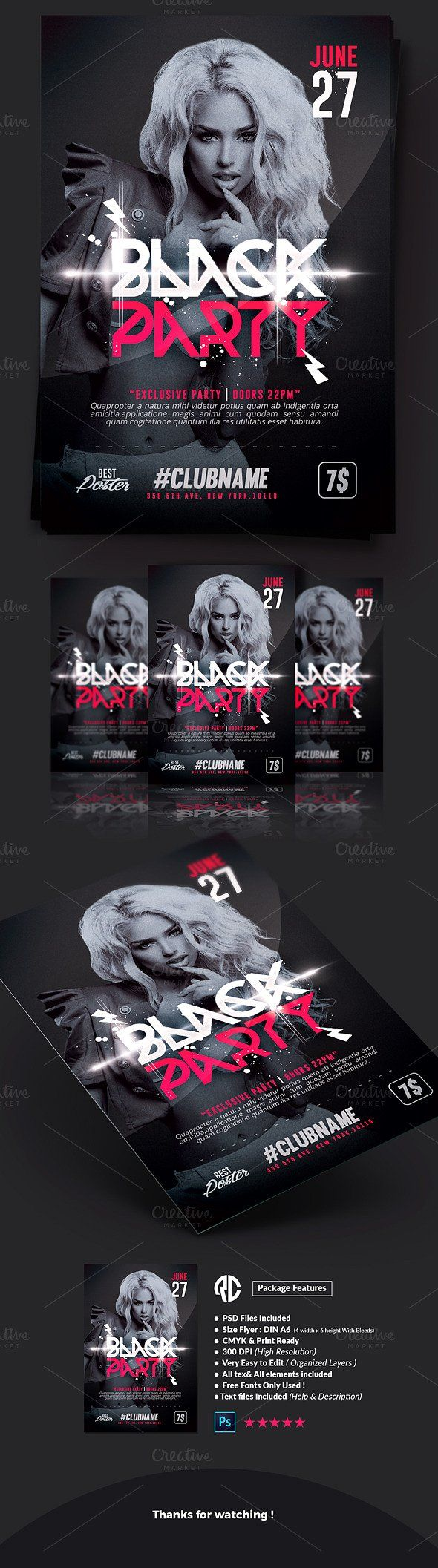 New  Black Party  Flyer Templates Exclusive Templates Creative