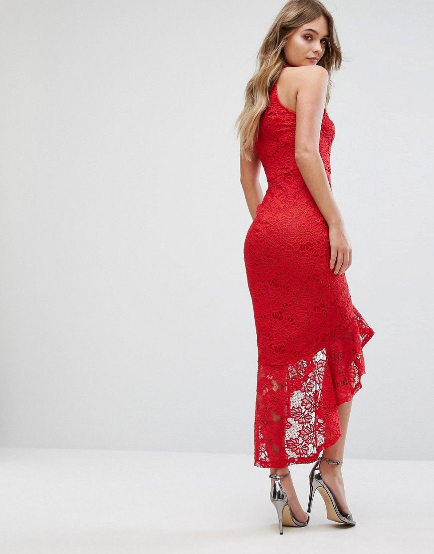 Lace Halterneck Fishtail Midi Dress - Red Missguided Cheap Amazon Professional Sale Online Perfect Cheap Sale Low Cost Marketable CxoV7