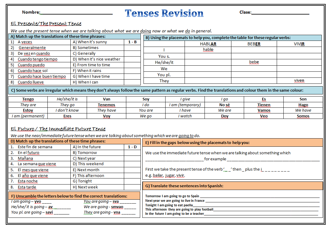 Workbooks weather expressions in spanish worksheets : MorganMFL: Spanish Tenses Booklet | Conjugar | Pinterest | Spanish ...