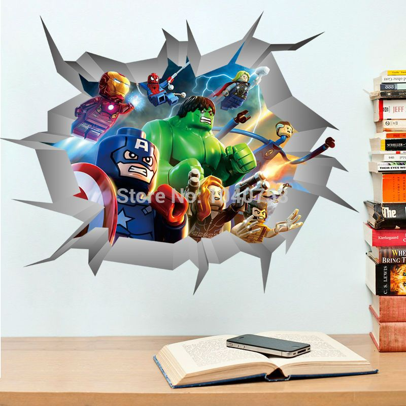 Avengers 3D Through Wall Stickers Lego Superheroes Home Decoration Wall  Decals Art For Kids Room Baby